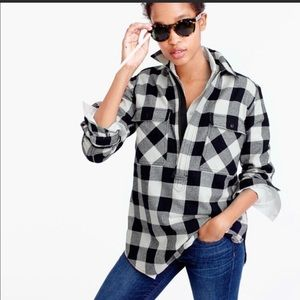 NWOT J.Crew Buffalo check shirt-jacket, Black, XS
